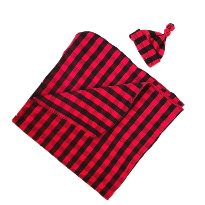 COSPOT Newborn Swaddle Blankets Set Red Plaid Blanket+Hat Bebe Baby Swaddles Toddler Hold Wraps Newborn Clothes 2020 New 45
