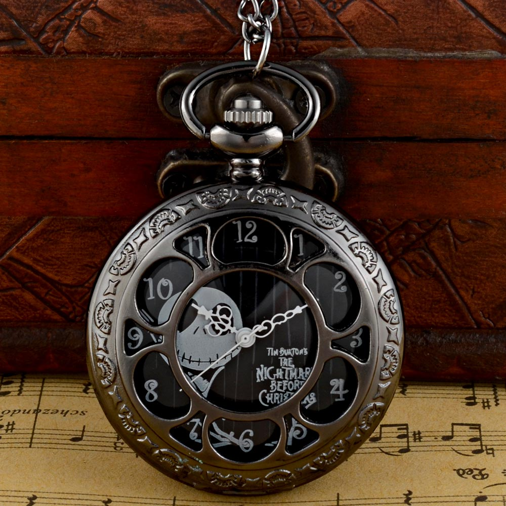 Fashion Black The Nightmare Before Christmas Hollow Quartz Pocket Watch Vintage Men Women Pendant Necklace Gift