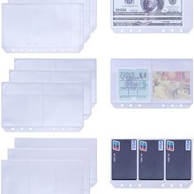 9Pcs A6 6 Ring Binder Pockets Notebook Filler Envelope Bill Pouch Name Card Business Card Sleeves Pages