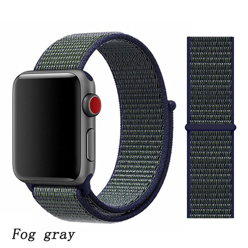 Спортивная петля ремешок apple watch band 42 мм 38 мм apple watch 4 3 band iwatch band 44 мм 40 мм correa pulseira 42 44 нейлоновый ремешок для часов - Цвет ремешка: midnight fog 9