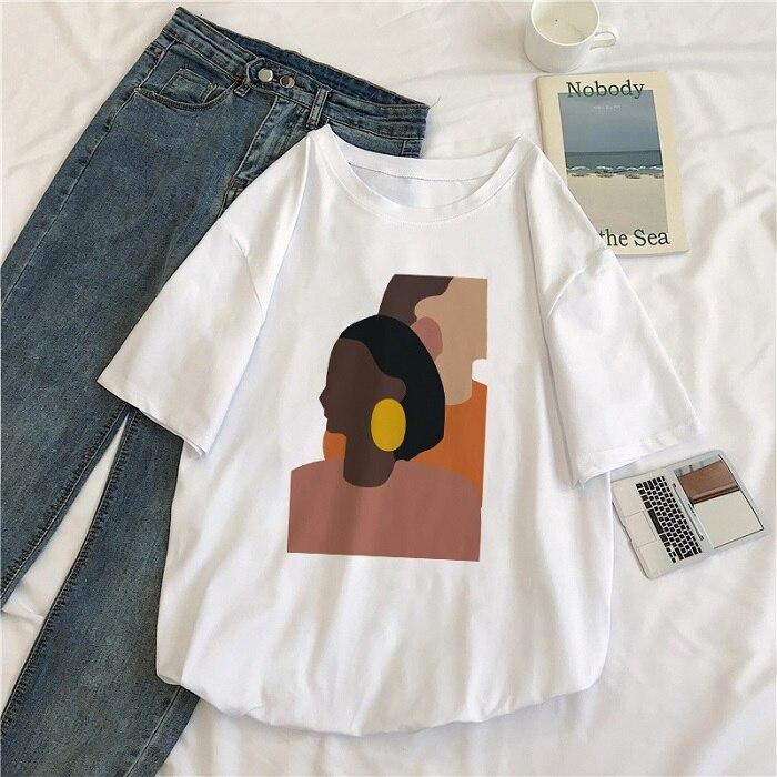 Женская винтажная свободная футболка с коротким рукавом и круглым вырезом