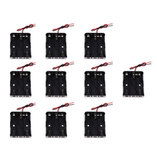 10Pcs/lot Battery Case Holder Storage Plastic Box Battery Wire Leads for AA