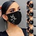 Женская маска для лица для многоразовые бабочка стразы открытый рот маски Дышащие Модные хлопковые рот шапки 1 шт. ушной Mascarillas