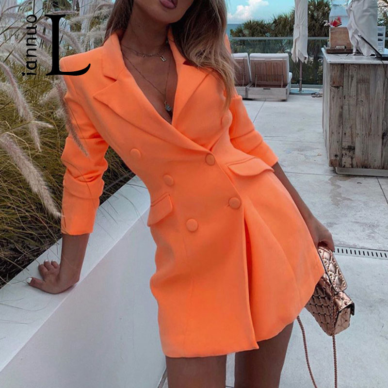 Liannuo Deep V-neck Female Long Blazers Double Breasted Long Sleeve Orange Blazer Fashion Autumn 2019 Fitted Long Jackets