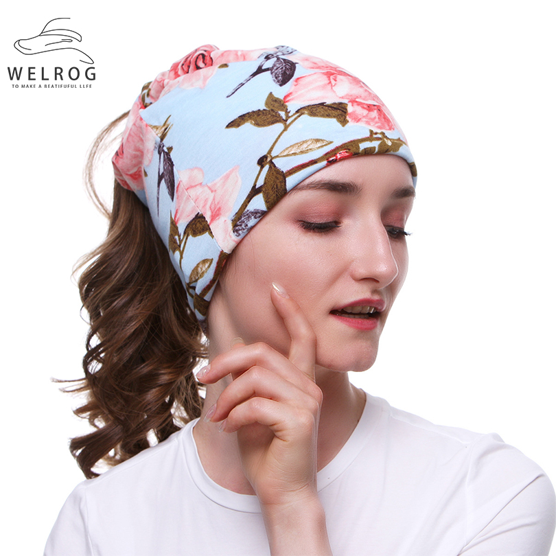 WELROG New Sports Viscose Turban Caps Fashion Dot Floral Leaves Breathable Hats Dual-use Skin-friendly Viscose Headscarf Muffler