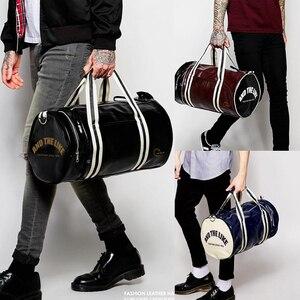 Image 5 - New Men Soft Leather Barrel Travel Bag Fashion High Capacity Bag For Men Waterproof Shoulder Luggage Bolsa Deporte Duffel Bag