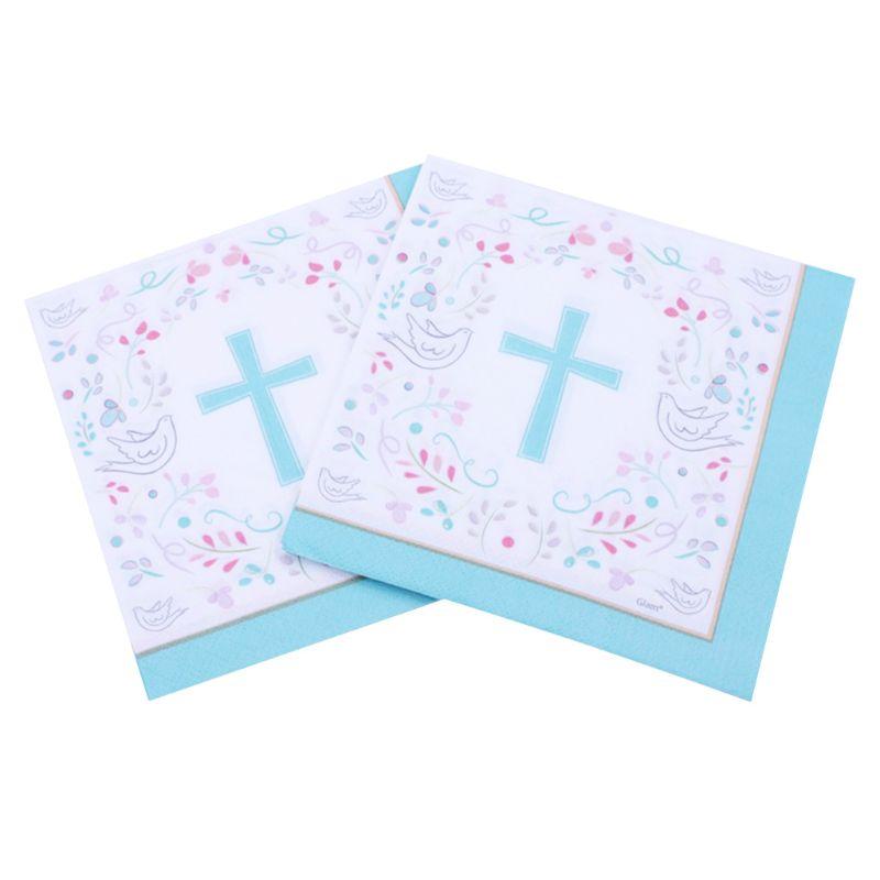 40Pcs Peace Dove Cross Paper Napkins Santa Communion Party Religious Hand Towel M6CE