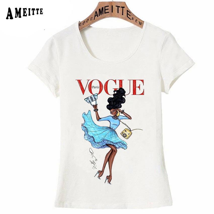 Vintage Vogue Paris Black printing Girl Shirt Summer Fashion T Shirt novelty casual Tops 5