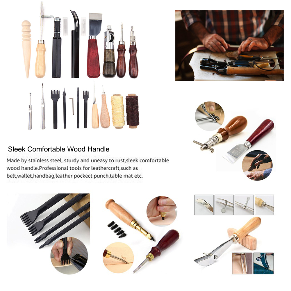 18pcs Punch Working Sewing Saddle Groover Tool DIY Leather Craft Tool Kit Working Tools For Tailored Leather