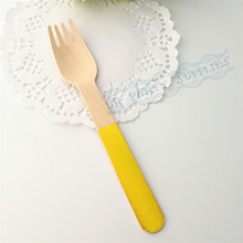 Wood-Fork Baby Shower Wedding Party Bridal Gold Birch with Foil Eco-Friendly Biodegradable