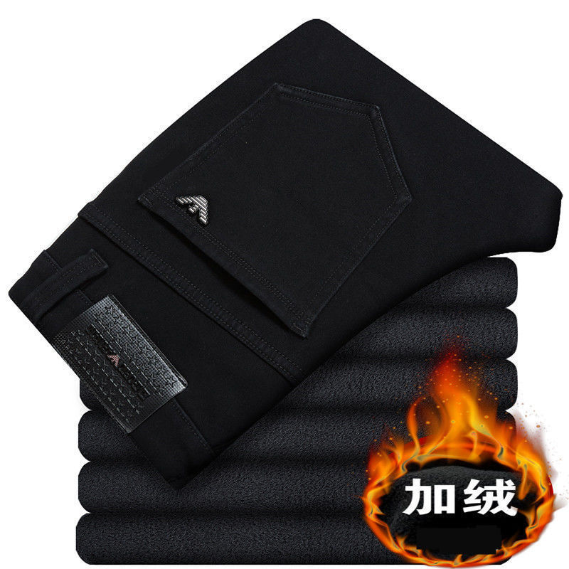 Genuine Product 2018 Winter Solid Black Brushed And Thick Big Brand Straight-Cut Jeans Men's Warm Elasticity Slim Fit MEN'S Trou