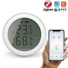 Tuya الذكية زيجبي مستشعر درجة الحرارة والرطوبة مع شاشة LCD عالية الدقة T & H الاستشعار العمل مع بوابة المحور أتمتة المنزل