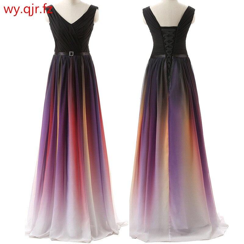 LLY6988#Eucharist 2019 New Double Shoulder Lace Up Party Prom Evening Dress Banquet Host Long Dresses Colour Cheap Wholesale