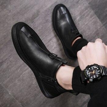 2019 jesienne buty wczesnozimowej mężczyźni prawdziwej skóry chelsea Boots modne buty męskie krowy skórzane męskie botki czarne A1120