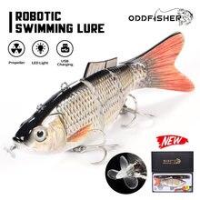 Robótico isca de pesca elétrica wobbler para pike eletrônico multi articulado isca 4 segmentos de natação automática usb luz led 40g