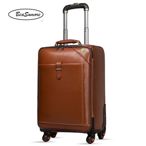 Image 3 - BeaSumore Men Genuine Leather Rolling Luggage Spinner Retro Cowhide Wheel Suitcases 16 inch Cabin Business Trolley