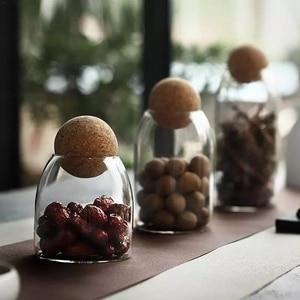 Transparent Lead-Free Glass Cork Sealed Can Storage Tank Grains Storage Jar Creative Cork Tea Containers Kitchen Storage