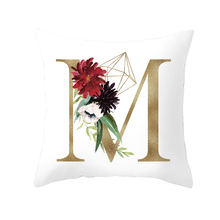26 Alphabet Initials Cushion Covers Watercolor Gold English Letter MJ Flower Soft Throw Pillow Cases Sofa Chair Decoration(China)
