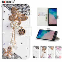 Rhinestone Bling Diamond Flip Leather Case For Samsung Galaxy S10 A20 E 5G S9 S8 Plus Note 10Pro A10 A30 A40 A50 A70 M10 M20 M30