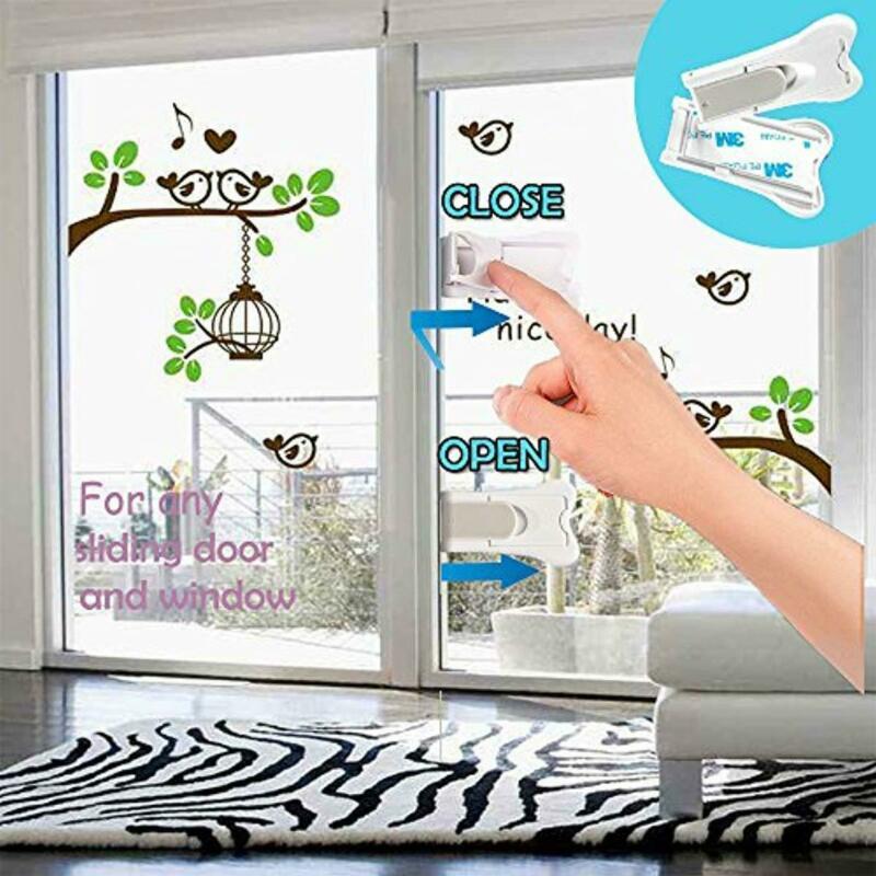 New Safety Baby Lock Window Door Lever Sliding Lock Doors Adhesive Lever Handle