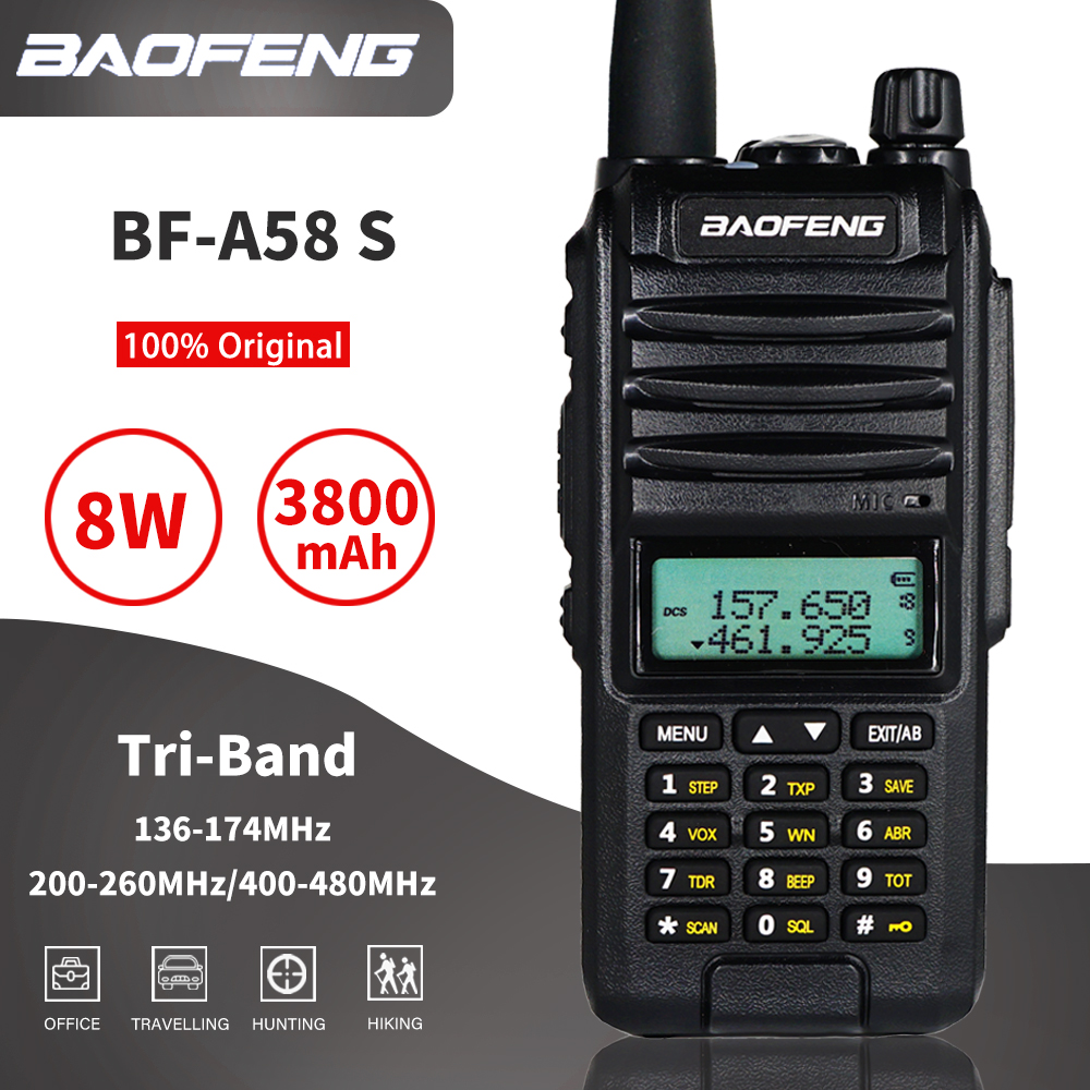 8W Baofeng A58S Tri-Band Walkie Talkie 10km Three Way Radio BF A58 S VHF UHF Dual Band Transceiver 3800mAh Portable CB Ham Radio