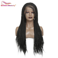 Braided Wig Black Long Lace Front Wig Synthetic Hair Extension For Women Box Braiding Hair Wig Heat Resisant Fiber Golden Beauty