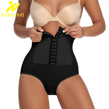 NINGMI Women Tummy Control Panties Bodysuit Waist Trainer with Hooks Slimming Underwear Butt Lifter Shapewear Corset Body Shaper