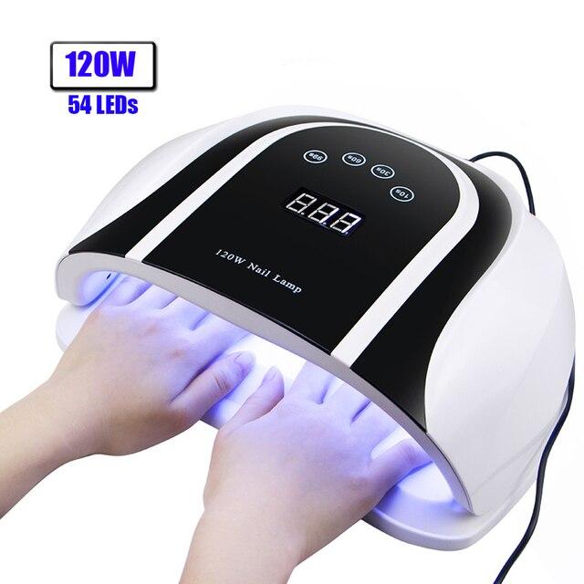 Pro lámpara UV LED para uñas, alta potencia, 120W, secador de esmalte de uñas en Gel, Auto Sensor, luz Led solar, herramientas de manicura de decoración de uñas