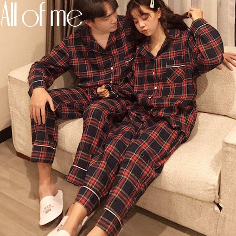 1Set Paar Pyjamas Set Mode Grid Farbe Homewear für Frauen Männer Nachtwäsche Weiche Baumwolle Pyjamas Paare Pijamas Mujer Hause anzüge