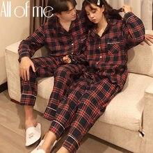Ensemble pyjama de Couple en coton doux pour homme et femme, vêtements de nuit, à la mode, avec grille de couleur
