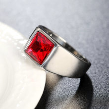 Luxury Square Color Big Crystal Finger Rings Titanium Steel Simple Casting For Man Party Gifts