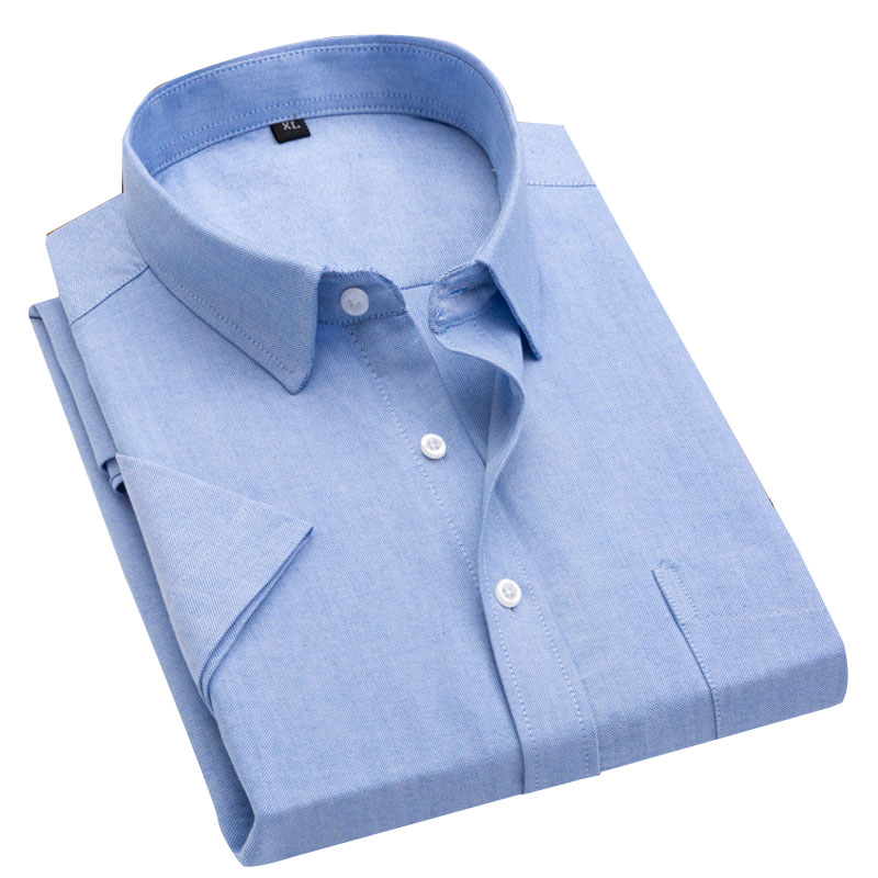 New Summer Men's Oxford Shirts Casual Korea Slim Fit Design Short Sleeve Fashion White Gray Male Blouse Shirt 1