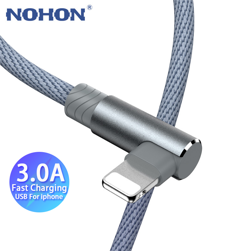 1 2 3 m 90 Degree USB Data Charger Cable For iPhone Xs Max Xr X 11 8 7 6 6S Plus 5 5S iPad Cord Origin Mobile Phone Long Short 1