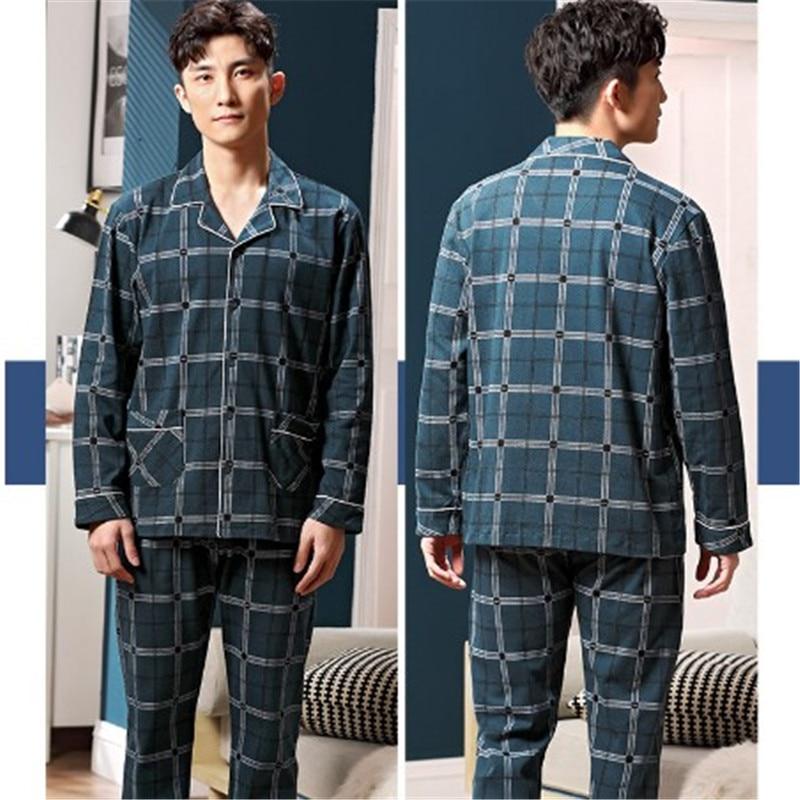 Cotton Men Pajamas Long Sleeve Plaid Lapel Sleepwear 2 Piece Sets Male Casual Pockets Nightwear Suits Plus Size M-3XL RM50288