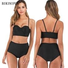 купить New Sexy Solid Black Color Bikini Women Swimsuit Backless Bathing Suit S-2XL High Waist Swimwear Push Up Padded Bikini Set дешево