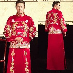 Image 4 - 2020 بدلة العريس و هو فو 2020 أزياء رجالية قديمة الصينية العريس فستان الزفاف التنين فينيكس سترة نخب بالجملة