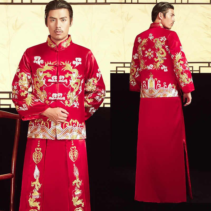 2020 Sposo Smoking E Lui Fu 2020 degli uomini di Costume Antico Cinese Sposo Abito Da Sposa Drago Phoenix Giacca Brindisi Commercio All'ingrosso