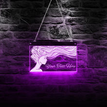 Panneau d'affichage mural néon pour Salon de beauté et barbier, à poils longs, pour coiffeur, coiffeur, éclairage, Art mural