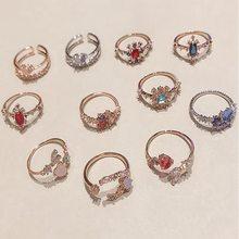 Женские регулируемые кольца с фианитом корейские разноцветные