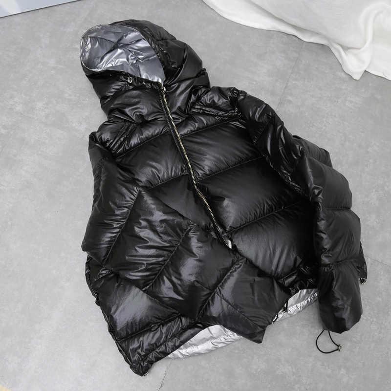 FTLZZ 新ゴールドシルバー両面ダウンコート冬のジャケットの女性ビッグ Aritificial 毛皮ホワイトダックダウンパーカー女性ダウン上着