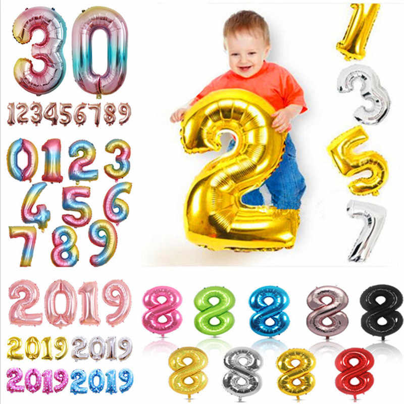 32 40 inch Large Big Number Foil Balloons Digit Helium Balloon Wedding Birthday Decoration Kid Air Ball Toy Party Favor Supplies