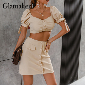 Glamaker Office ladies A-line two piece suits Puff sleeve  top and pocket slim mini skirt Summer Square collar casual sets 2021 1