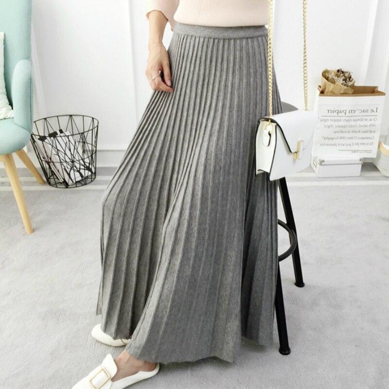 SETWIGG Women's Autumn Draped  Rib Pleated Long Knitted Skirt Elegant Winter Wool Blend A-line Long Knit Skirt Elastic Waist