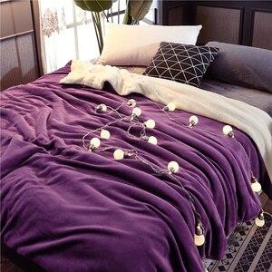 Image 1 - Manta de cama de felpa de doble cara para invierno, suave y cálida, franela, cordero, Cachemira, funda de edredón, mantas clásicas, regalo de Año Nuevo