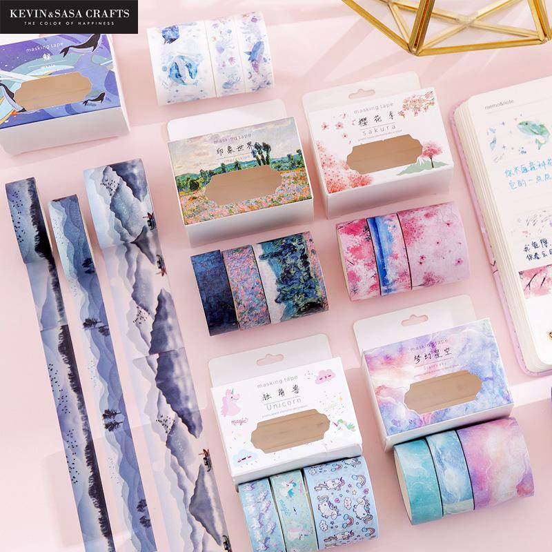 3Rolls/Set Washi Tape Diy Scrapbooking School Supplies Stationery Gift Back To School Presented By Kevin&Sasa Crafts