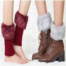 Модные аксессуары, женские зимние вязаные ботинки с манжетами, меховые вязаные носки, женские гетры
