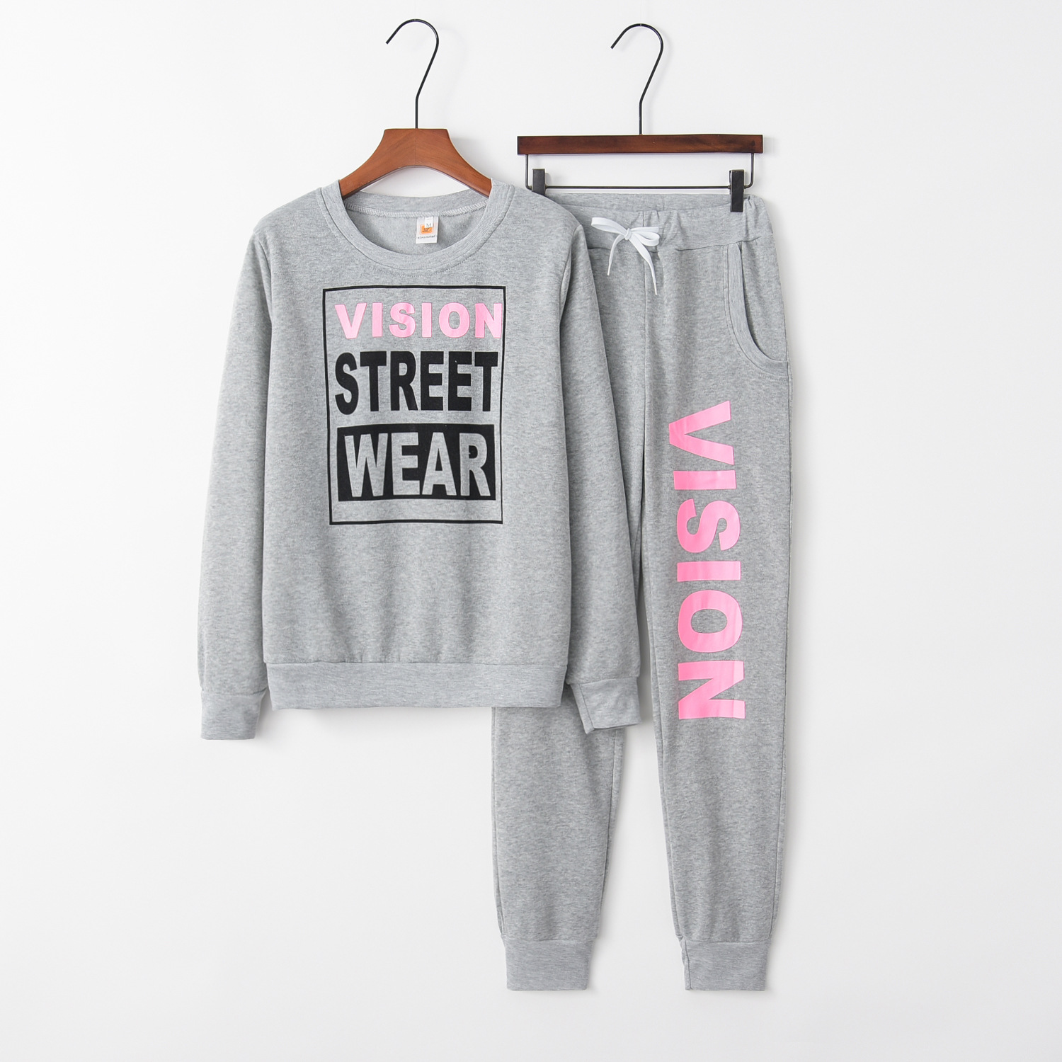Letter Street 2020 New Design Fashion Hot Sale Suit Set Women Tracksuit Two-piece Style Outfit Sweatshirt Sport Wear