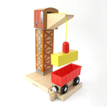 TTC101 Crane TRACK Magnetic Wooden Train Scene Track Accessories BRIO Toy Car Truck Locomotive Engine Railway Toys f Children A. image