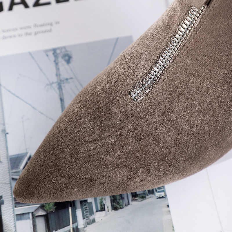 2019 ฤดูหนาวรองเท้าผู้หญิงรองเท้าผู้หญิง Solid Zip-up Pointed Toe รองเท้าส้นสูงหญิง Boot ข้อเท้าคาวบอย Western ยาง Booties