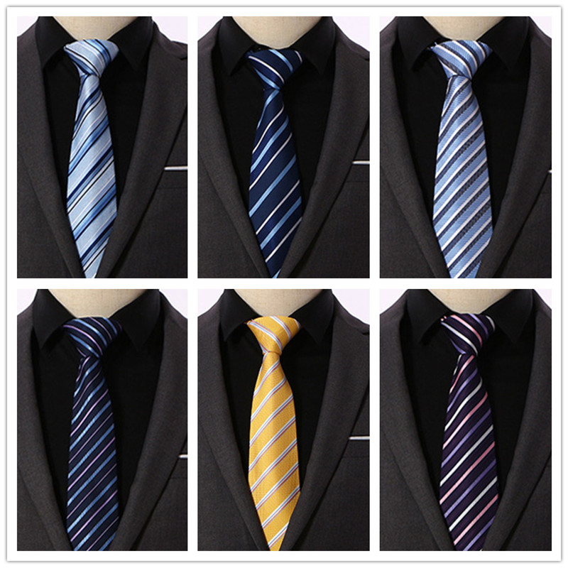 8CM Ties For Mens Fashion Necktie Solid Striped Men Cravate Polyester Silk Skinny Formal Tie Business Wedding Party OJ08